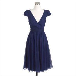 NEW J Crew   Navy Blue Mirabelle Silk Dress